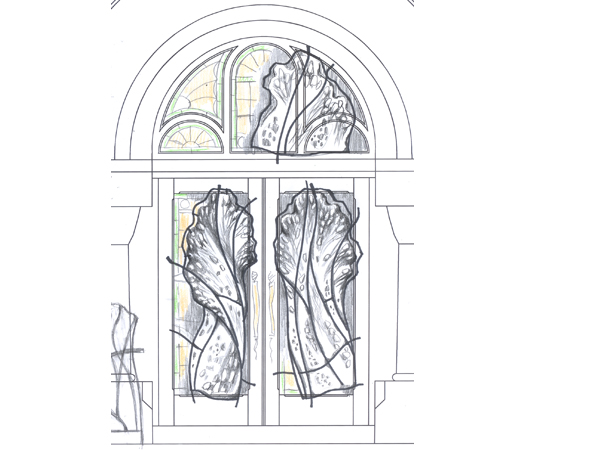Design proposal for Salon and Spa in Mintclair front entrance door made of wrought iron and kilnformed glass