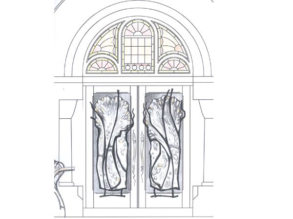 Design sketch for Salon and Spa in Mintclair front entrance door made of wrought iron and fused glass
