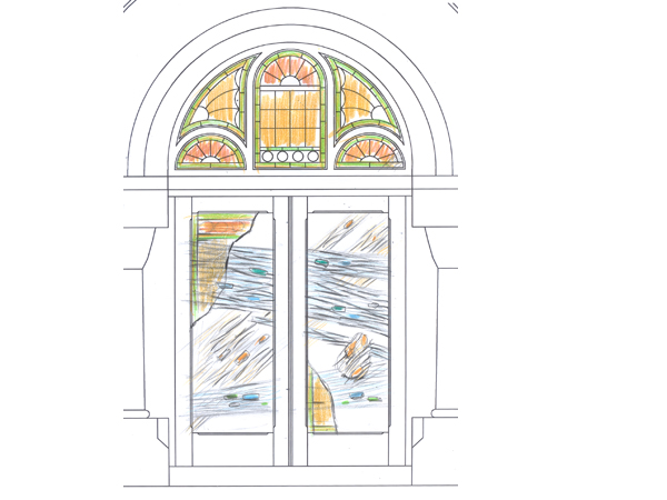 Design proposal for Salon and Spa in Mintclair front entrance door made of wrought iron and kilnformed glass using existing stained glass panels as additional layer of glass