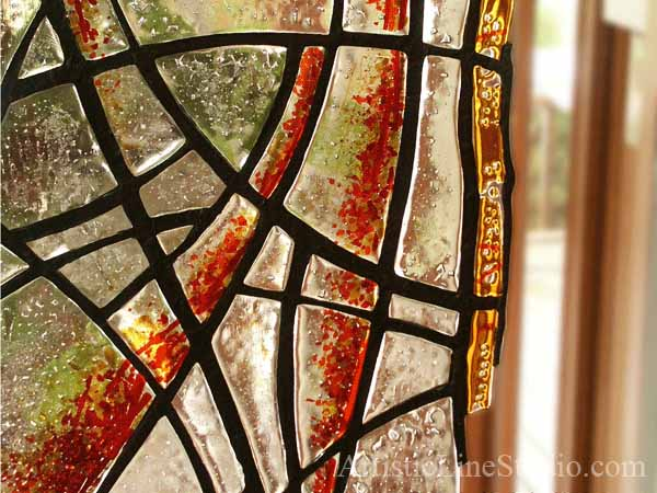 Stained, fused and leaded glass double sculpture for  a private residence
