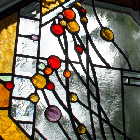 Abstract Stained Beveled Leaded Glass Suspended Panels