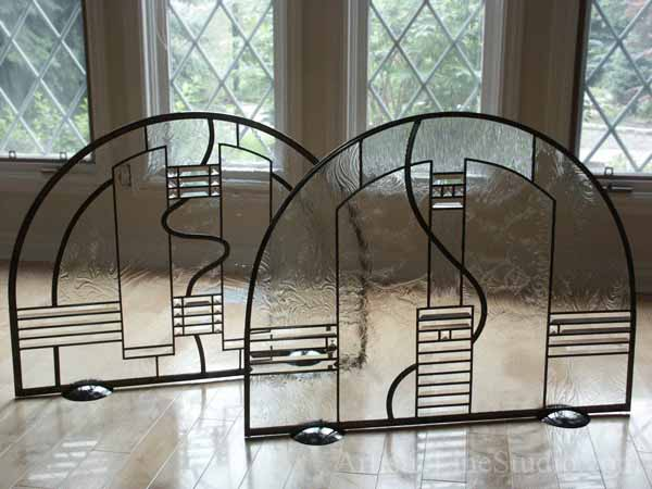 Contemporary stained and leaded glass fireplace screen